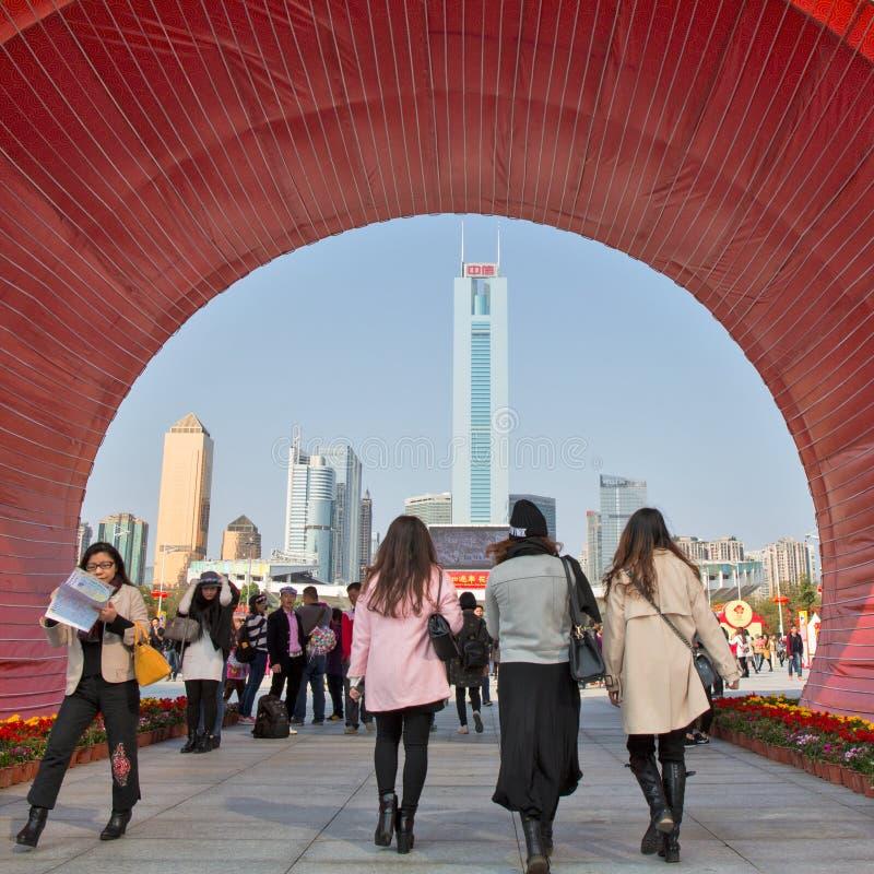 Добро пожаловать к Китаю, гостеприимсво к Гуанчжоу стоковые изображения rf