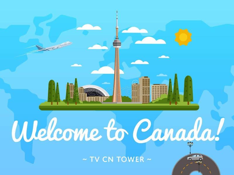 Добро пожаловать к плакату Канады с известной привлекательностью иллюстрация вектора