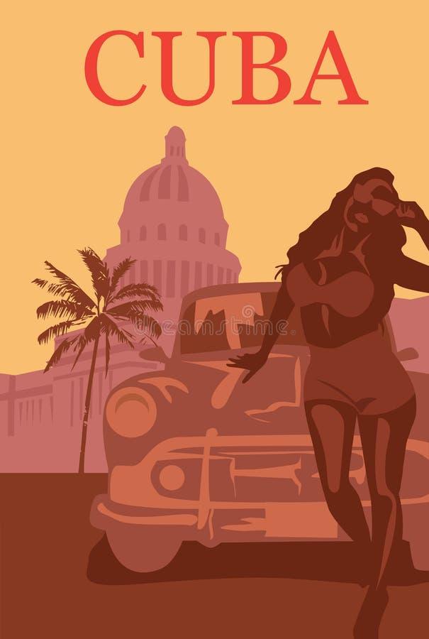 Добро пожаловать к плакату Кубы ретро иллюстрация вектора