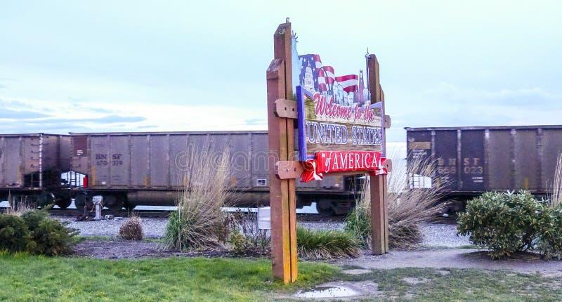 Добро пожаловать к Соединенным Штатам Америки на США - канадская граница - BLAINE/ВАШИНГТОН - 13-ое апреля 2017 стоковые фото