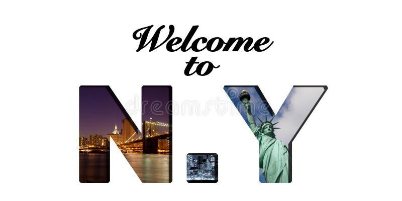 Добро пожаловать к тексту Нью-Йорка и коллажу фото стоковое фото