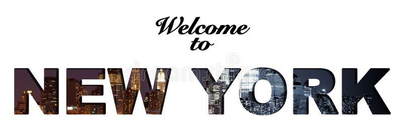 Добро пожаловать к тексту Нью-Йорка и коллажу фото иллюстрация вектора