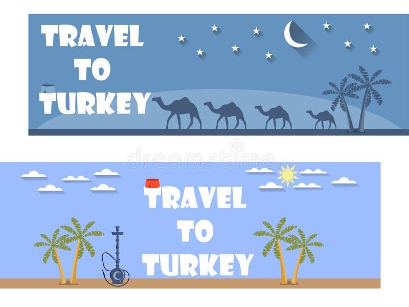 Добро пожаловать к Турции Знамя в плоском стиле Туризм билет иллюстрация вектора