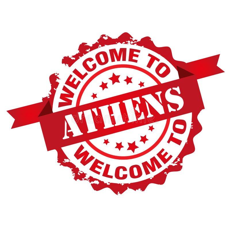 Добро пожаловать к штемпелю Афин бесплатная иллюстрация