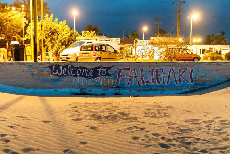 Добро пожаловать к Faliraki - граффити в Родосе стоковое фото rf