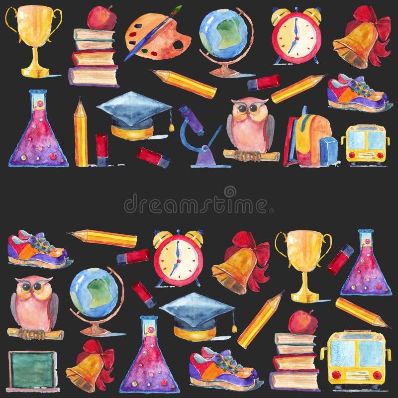 Добро пожаловать назад к комплекту акварели школы значков бесплатная иллюстрация