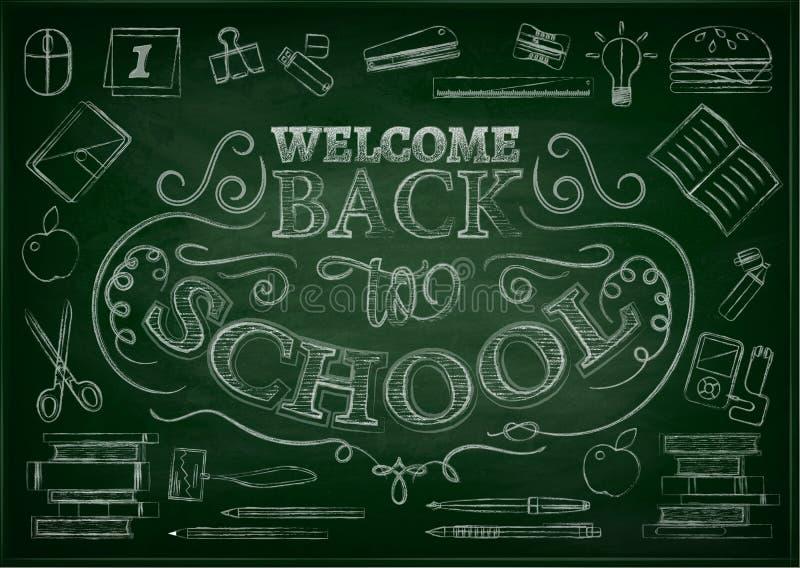 Добро пожаловать назад к предпосылке продажи школы с красным яблоком, иллюстрацией вектора бесплатная иллюстрация
