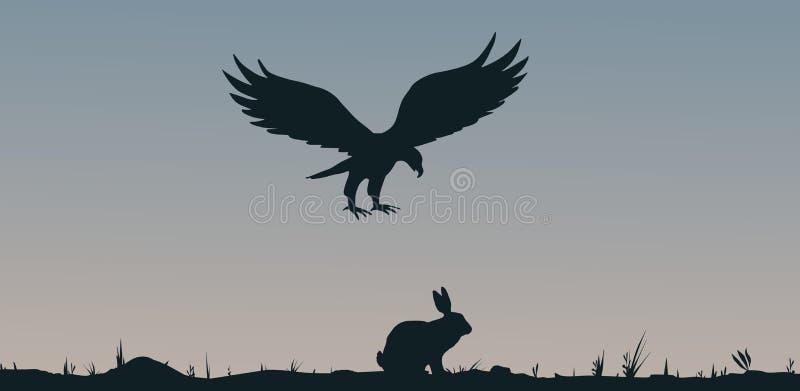 Добыча и хищник иллюстрация вектора