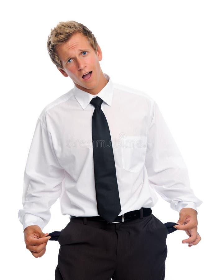 доведенная до банкротства белизна изолированная бизнесменом стоковое изображение rf