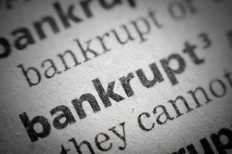 доведенное до банкротства слово макроса словаря супер стоковое фото rf