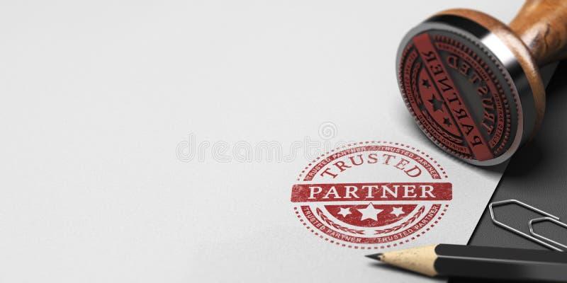 Доверенный партнер, доверие в партнерстве дела иллюстрация штока