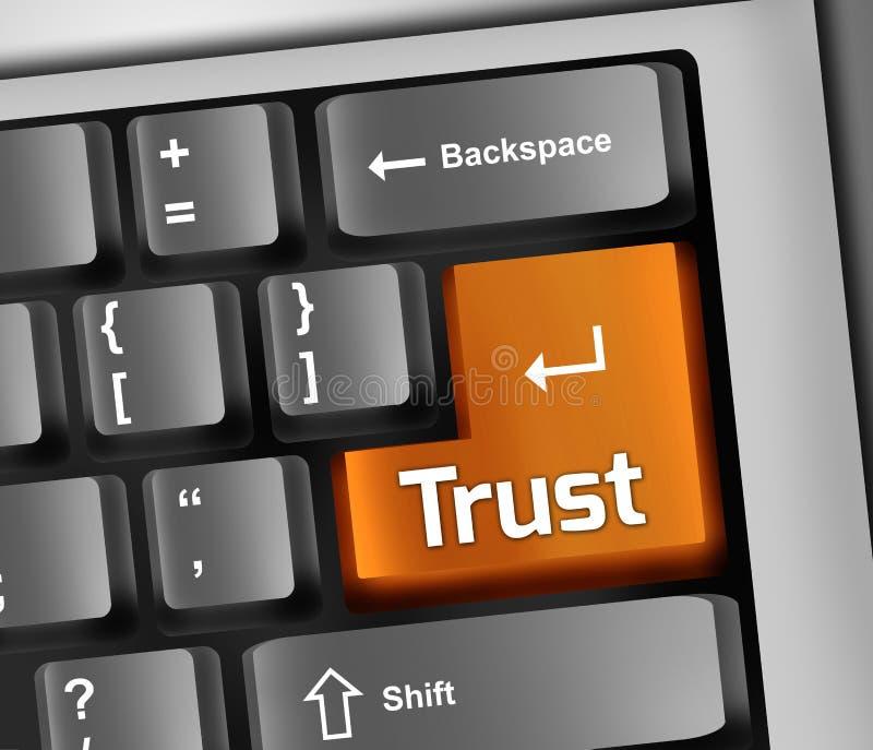 Доверие иллюстрации клавиатуры иллюстрация вектора