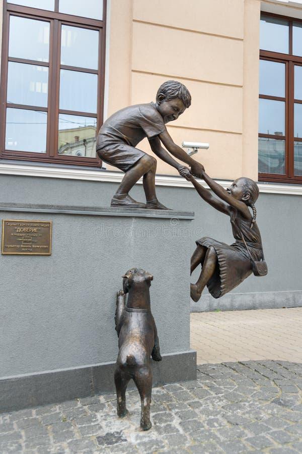 Доверие состава скульптуры в Казани Россия стоковые фото
