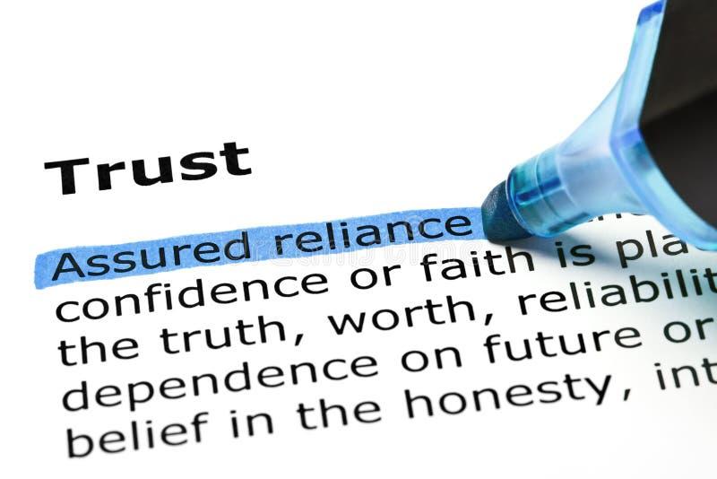 Доверие с голубой отметкой стоковые изображения rf