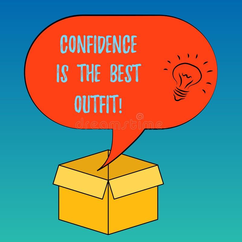 Доверие текста почерка самое лучшее обмундирование Концепция знача самоуважение выглядит лучшей в вас чем значок идеи одежд иллюстрация штока
