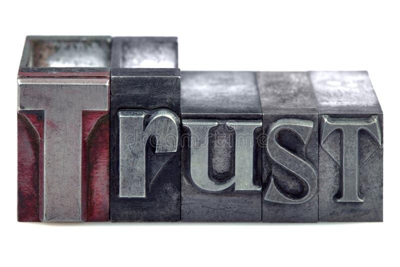 доверие letterpress стоковые фотографии rf