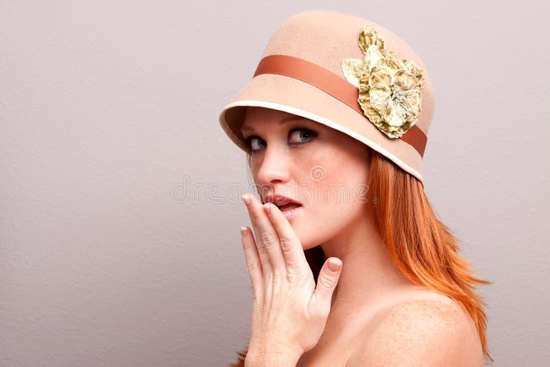довольно застенчивая женщина стоковое фото rf