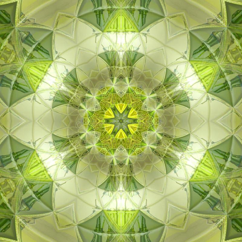 Довольно зеленая флористическая мандала треугольника солнца иллюстрация штока