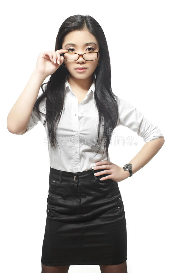 Довольно красивейшая сексуальная азиатская коммерсантка стоковые фотографии rf