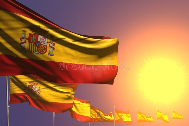 Довольно много флагов Испании установили раскосное на заходе солнца с местом для текста - любой иллюстрации флага 3d торжества иллюстрация вектора