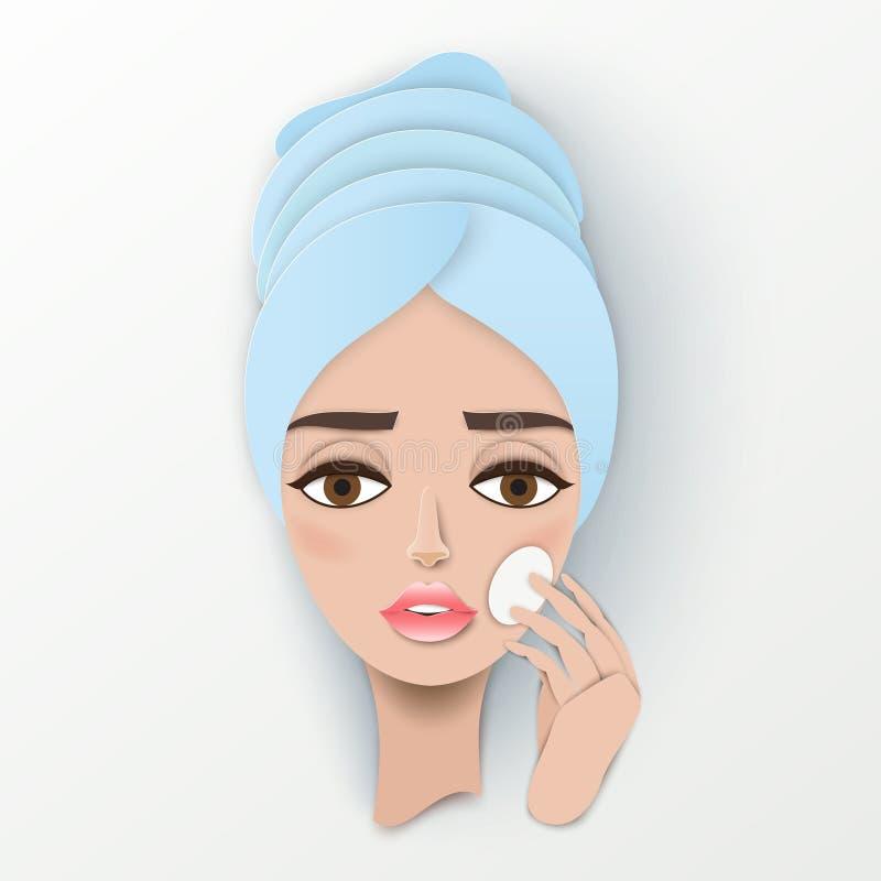 Довольно молодая бумажная девушка с полотенцем на ее голове бесплатная иллюстрация