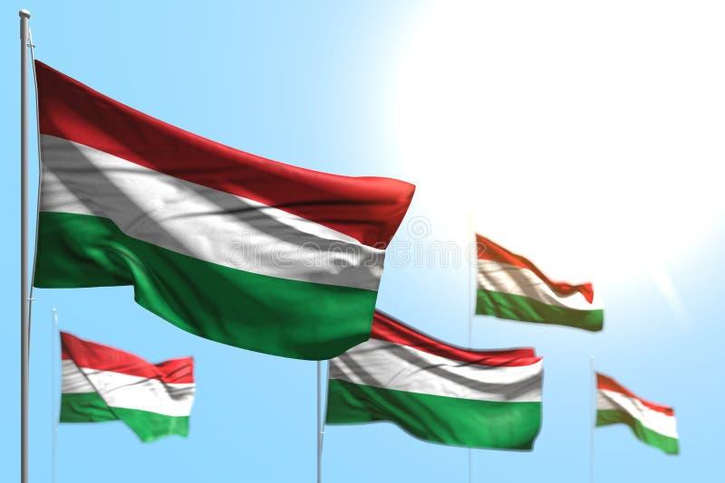 Довольно 5 флагов Венгрии развевают против фото голубого неба с bokeh - любой иллюстрацией флага 3d праздника иллюстрация вектора
