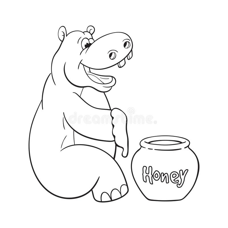 Довольный бегемот с медом бесплатная иллюстрация