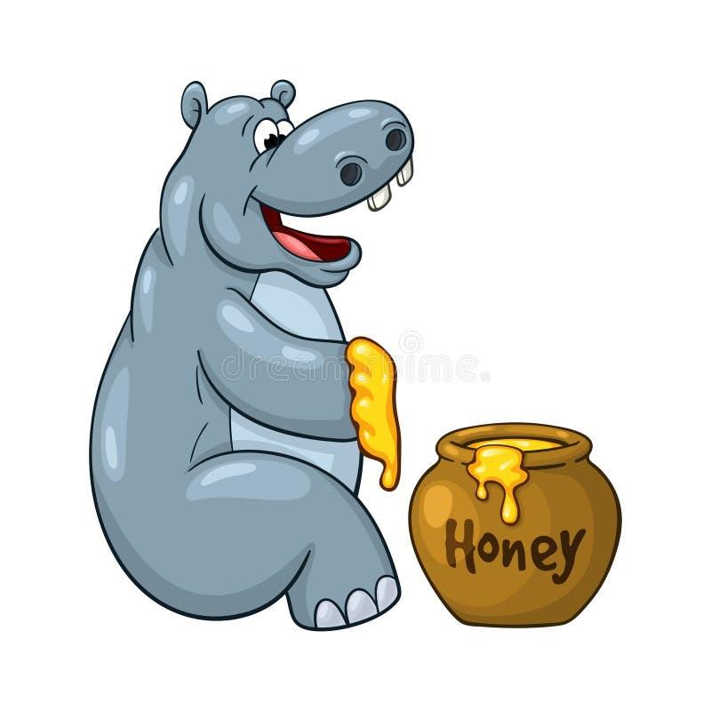Довольный бегемот с медом иллюстрация штока