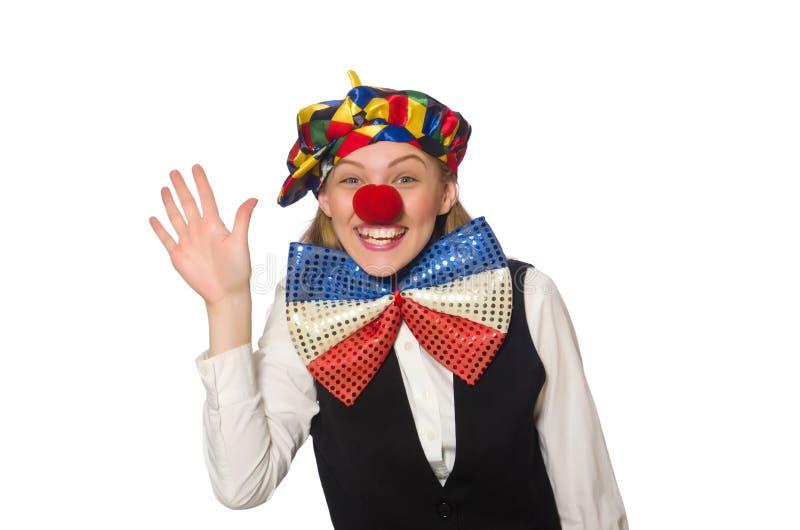 Довольно женский клоун изолированный на белизне стоковая фотография rf