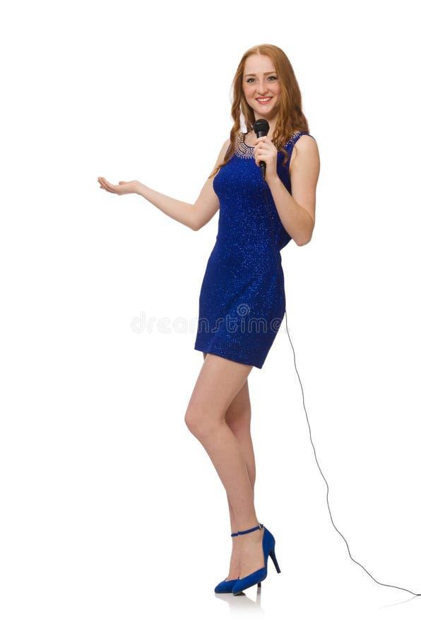 Довольно красная девушка волос в голубом платье изолированном дальше стоковые фото