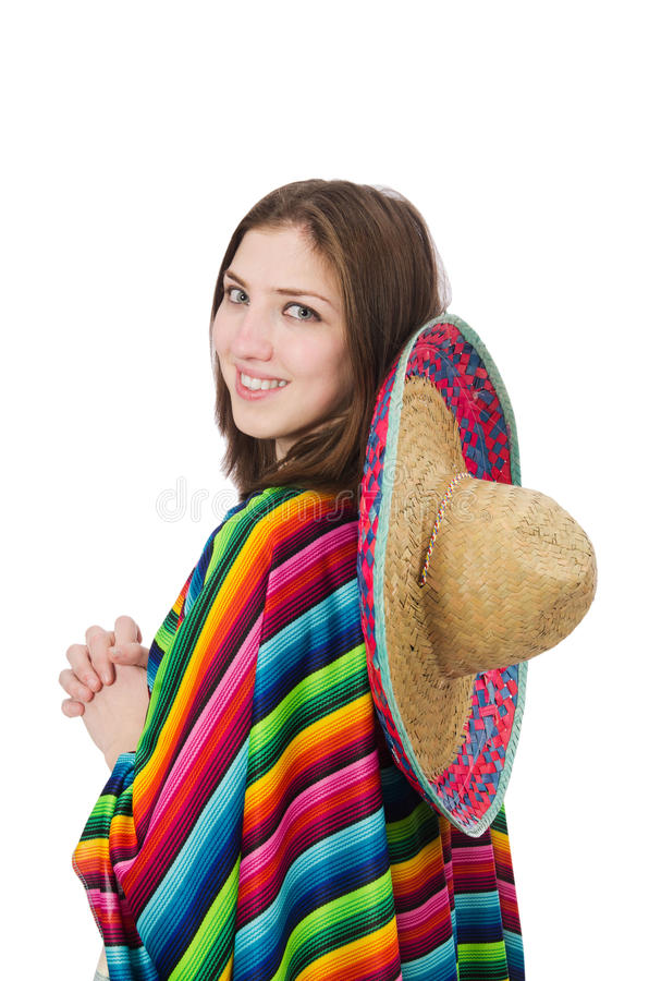 Довольно мексиканская девушка в ярком pocho изолированная дальше стоковое изображение