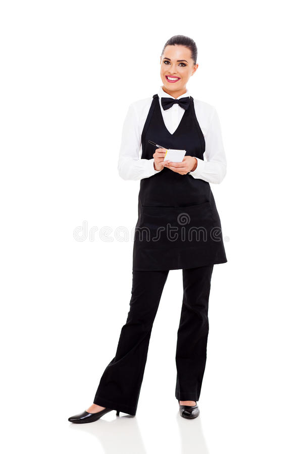 Официантка принимая заказы стоковое фото