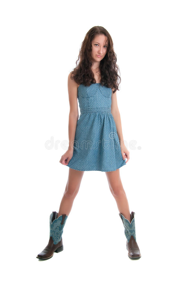Довольно молодое брюнет в ботинках стоковое фото rf