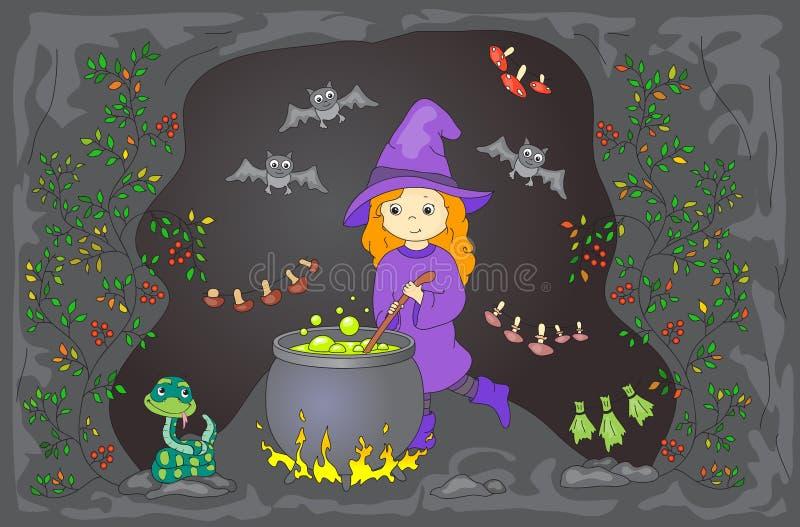 Довольно дружелюбная ведьма заваривает зелье Чиреи волшебного зелья в ca иллюстрация штока
