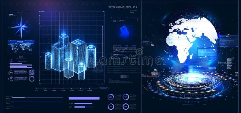 HUD UI GUI interface  control center. Planet Earth stock illustration