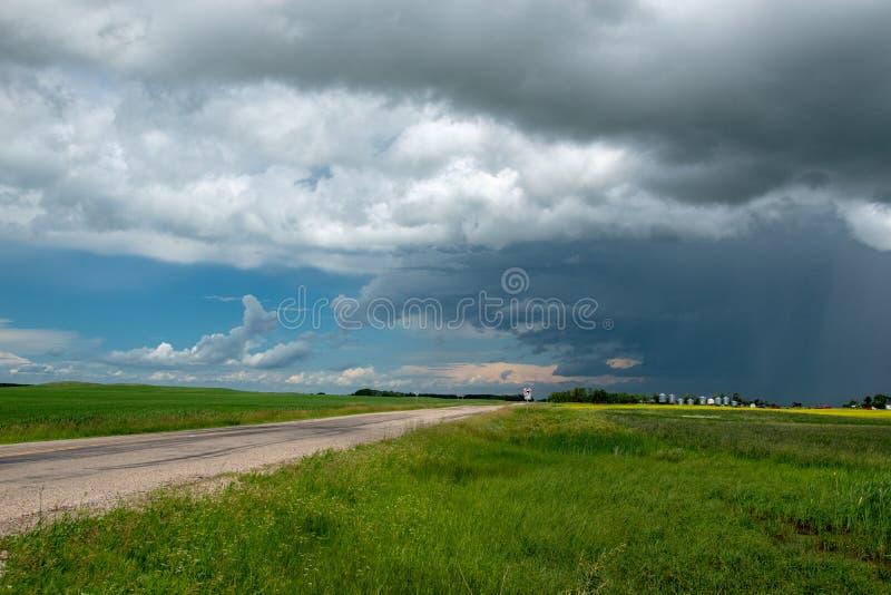Дождевые облако причаливая над обрабатываемой землей, Саскачеваном, Канадой стоковые фото