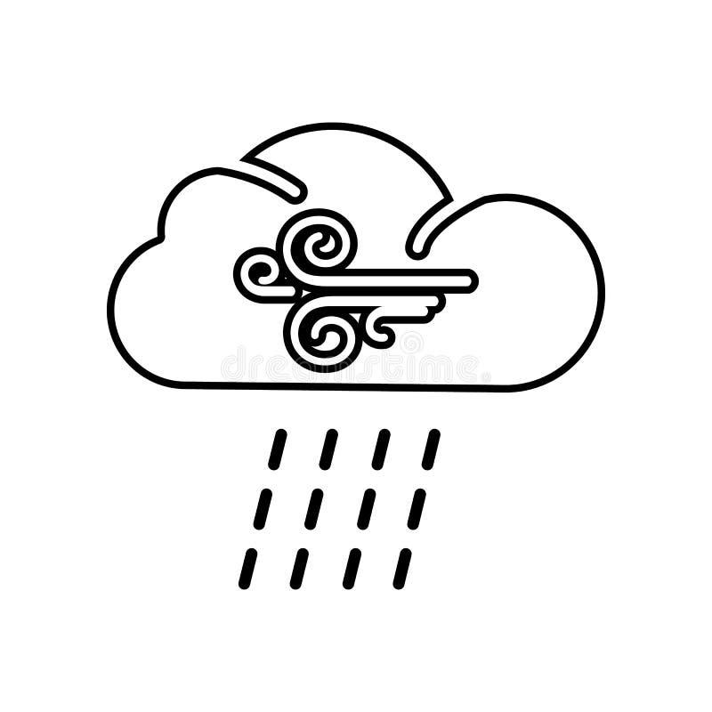 дождливая и ветреная линия значок Элемент ли для мобильных концепции и значка приложений сети r иллюстрация вектора