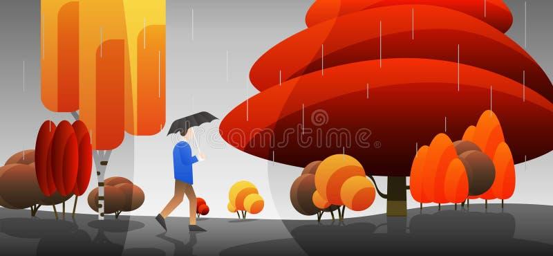 Дождливая осень бесплатная иллюстрация