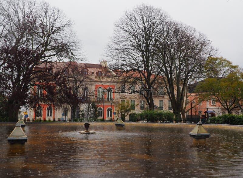 Дождливый день в парке Лиссабона стоковые фотографии rf