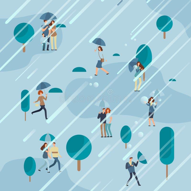 Дождливый день в парке с зонтиками людей иллюстрация штока