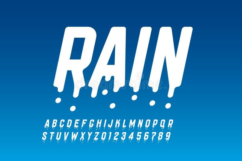 Дождливый дизайн шрифта иллюстрация вектора