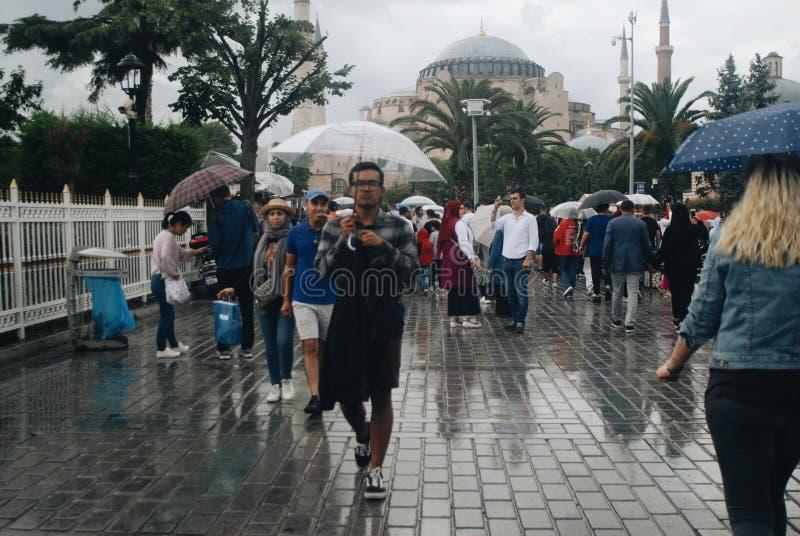 Дождь в Стамбуле стоковое фото rf
