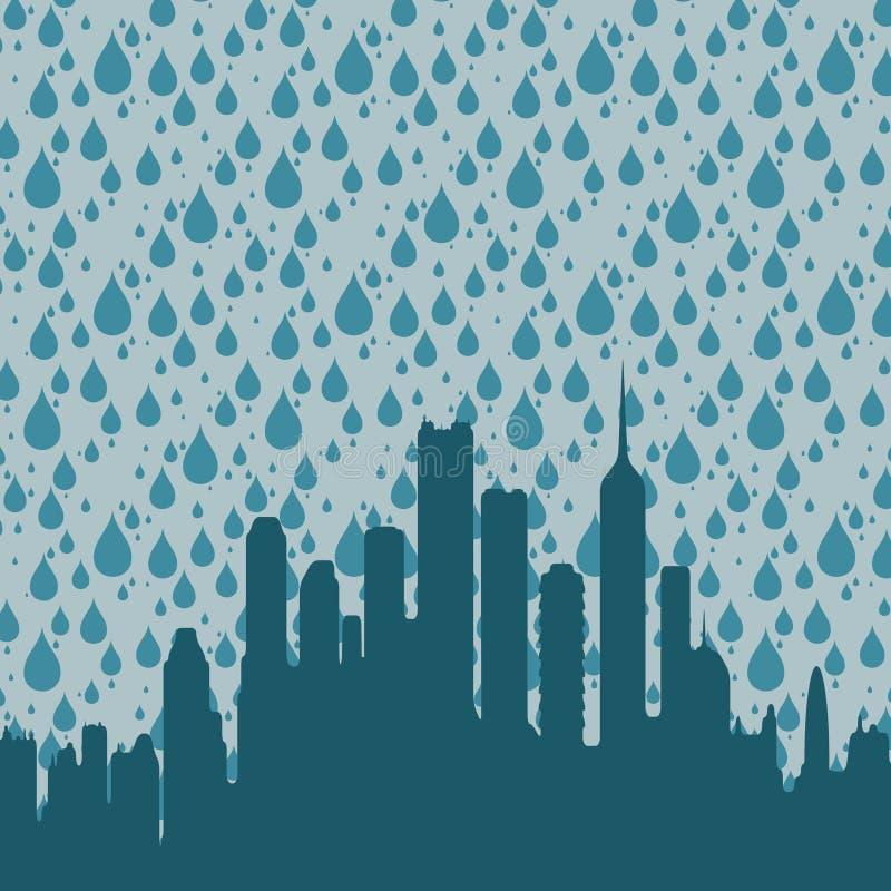 дождь города иллюстрация вектора