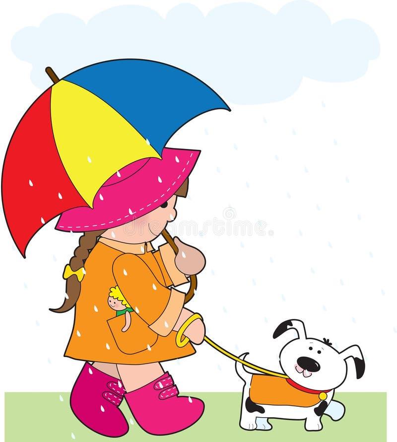дождь девушки иллюстрация штока