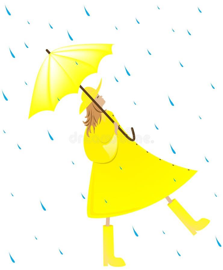 дождь девушки иллюстрация вектора