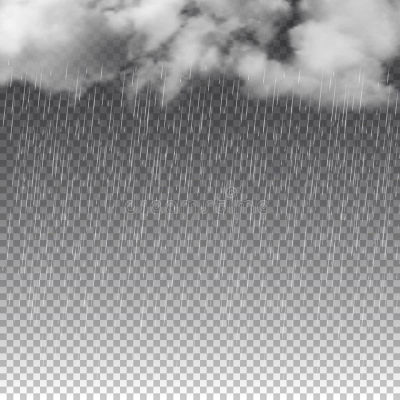 Дождь и белые облака изолированные на прозрачной предпосылке также вектор иллюстрации притяжки corel иллюстрация штока