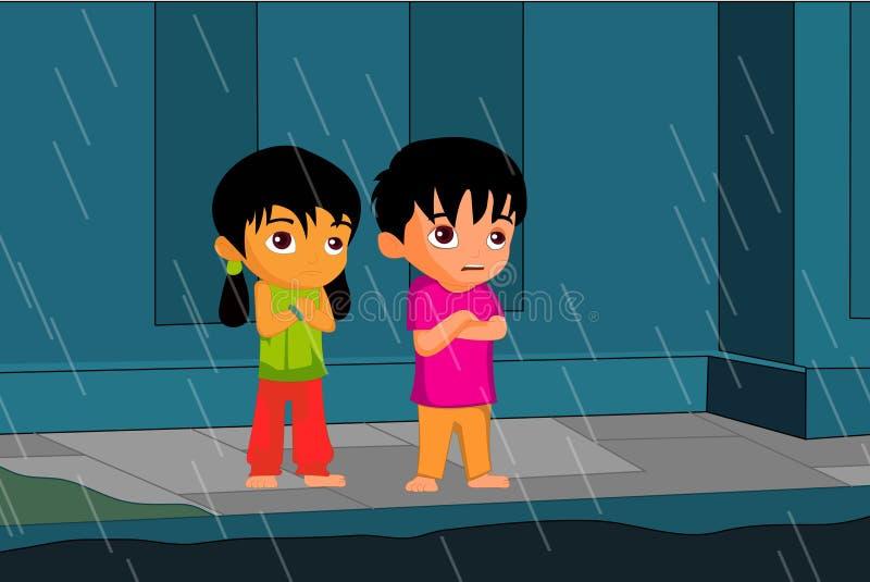 Дождь и дети бесплатная иллюстрация