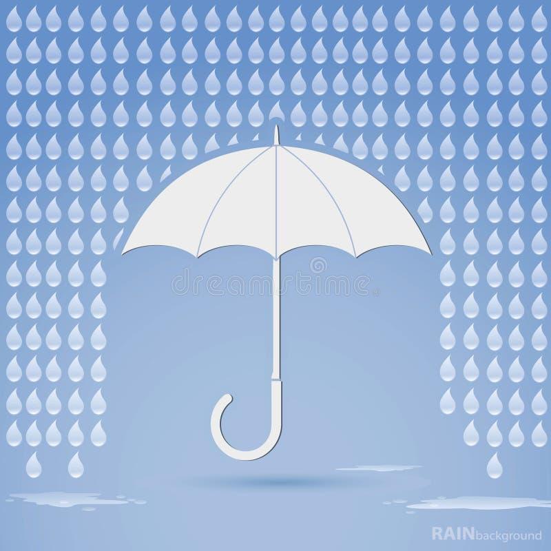 Дождь и зонтик иллюстрация вектора