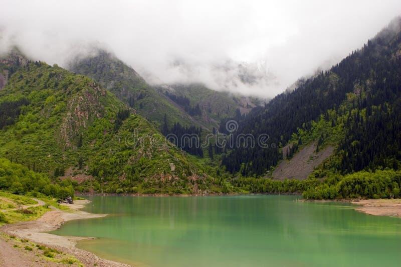дождь озера тумана зеленый стоковое изображение