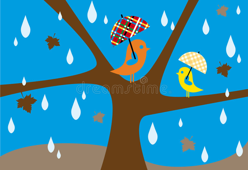 дождь осени иллюстрация вектора